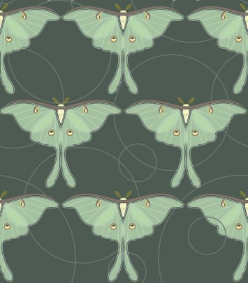 Luna Moth is a sophisticated pattern for fabric and wallpaper.