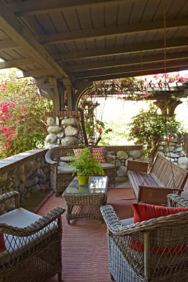 The porch is large enough to use as a living room.