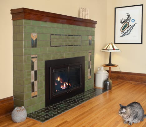 Clay squared pesto-green-arts-and-crafts-fireplace-tile-prairie-cat-hero