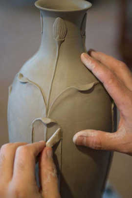 Fine sculpting in clay . . .