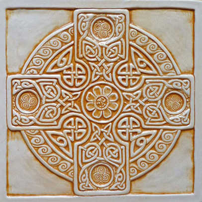 'Celtic Cross' 8-in. relief tile by Earth Song Tiles.