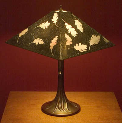 'Oak Leaf Lamp' with metal-overlay shade by Ann Ryan Miller.