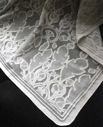 'The Oak and Acorn' curtain from Cooper's Cottage Lace.