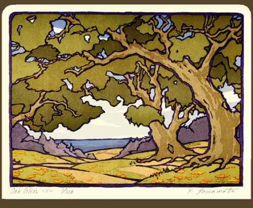 Center of a block-print triptych, 'Oak Glen', from Arts & Crafts Press.