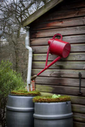 The rainwater collection system at an outbuilding at Stoneywell.