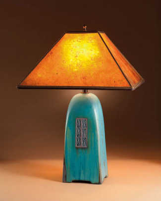 Jim Webb's hand-molded and incised ceramic lamp with handmade mica shade from Studio 233.