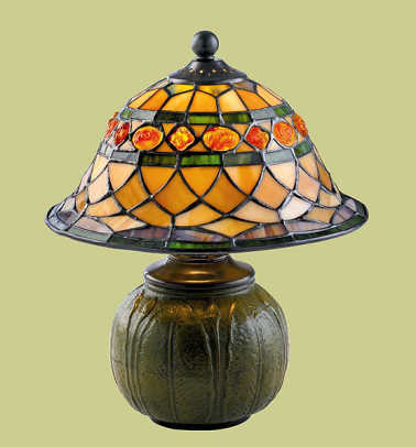 Jewel-glass shade on a Tiffany-style lamp from Rejuvenation.