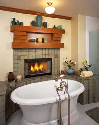 A bathroom fireplace, part of an addition to a ca. 1910 house.