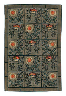 An unusual design from Tiger Rug: 'Craftsman Thistle' in sage.