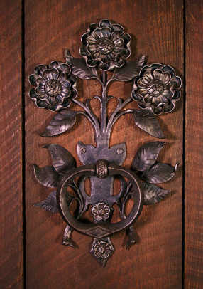 Floral door handle by artist Carl Close Jr., Hammersmith Studios