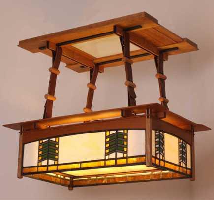 Kevin Rodel's 'Prairie Light Box' recalls Prairie School art-glass motifs.