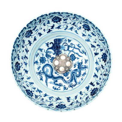 Hand-carved and hand-painted porcelain dragon bowl with decorative stopper, by Linkasink.