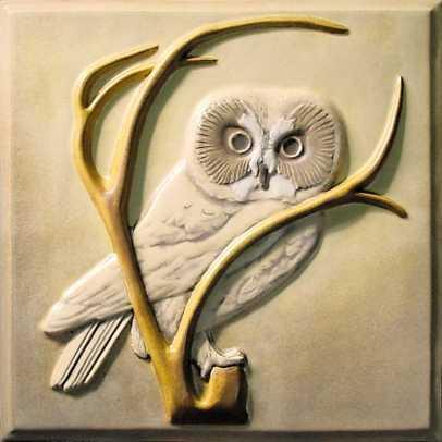 "Lewellen's nature-inspired deco tiles include 8"" relief 'Saw-Whet Owl'"