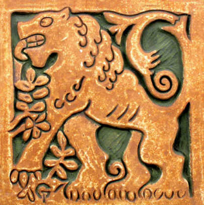 The lion tile is contemporary, but a faithful reproduction of a Batchelder design.