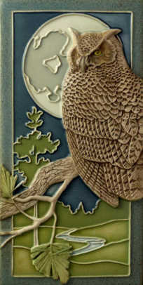 """Night Owl' is s 4"""" x 8"""" gift tile from Medicine Bluff Studio."""
