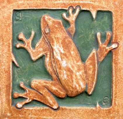 The frog tile is a new design influenced by Batchelder. Two tiles courtesy Tile Restoration Center.