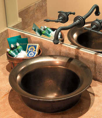 Copper basins are used in bathroom, pantry, bar, and even kitchen.