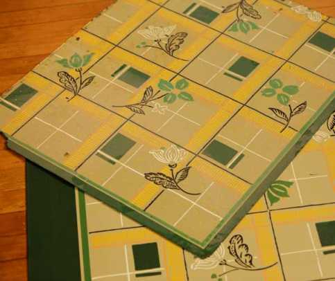 The new floorcloth was copied from a remnant of old linoleum.