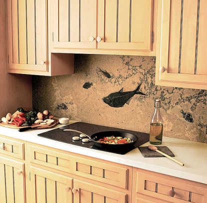Nature and history: a calcium-carbonate fossilized shale as backsplash stone, heatproof and waterproof, from Green River Stone.