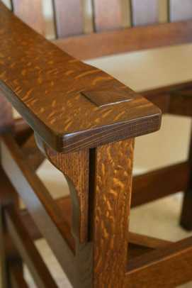 A rocking chair in quarter-sawn oak is based on measurements from one Dale inspected at Asheville's Grove Park Inn.