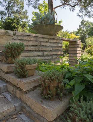 The Asian-inspired garden in the backyard.