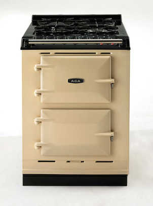 Enameled AGA cookers and commercial stoves blend well in period kitchens; this is AGA's new 'Companion' cooker for small spaces.