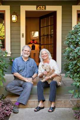 Homeowners Steve Dowty and Dee Duncan on the front porch.