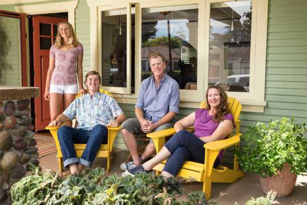 The McDonald family on the porch: Maggie, Kelly, Rick, and Brenda.