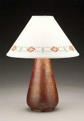 Stenciled shade by Helen Foster on an Ecobre copper base from Susan Hebert.