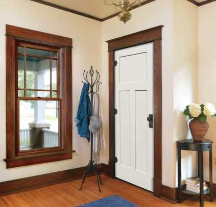 Jeld-Wen's Craftsman window uses intersecting corners to evoke a period Prairie Style sash; the trimwork, too, is period style.
