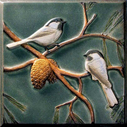 Chickadees tile from Lewellen Studio.