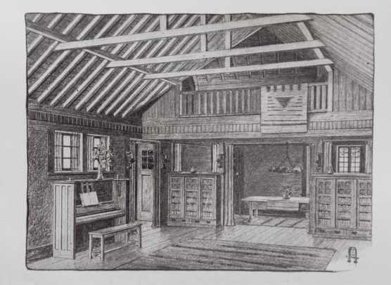 The great room and balcony as depicted in The Craftsman in 1907.