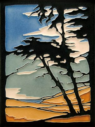 Monterey Cypress art tile from Motawi.