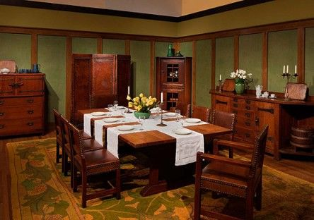 """The quintessential Craftsman table setting was re-created for the exhibition """"Gustav Stickley and the American Arts & Crafts Movement."""" Note the simple centerpiece, use of candlesticks, and crossed table scarves—all arranged as they were in 1903.Photo courtesy Dallas Museum of Art"""