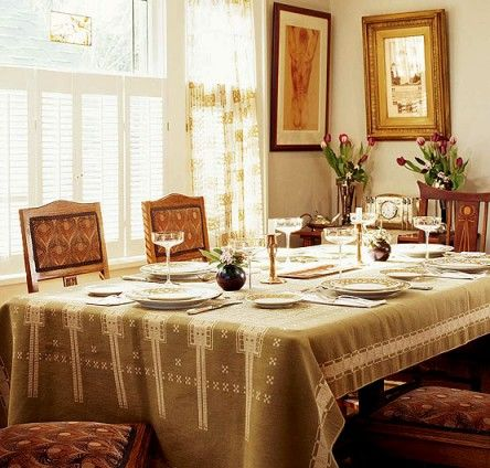 Even the Secession-period tablecloth is vintage on this table set with antique Art Nouveau pieces. Photo by William Wright.