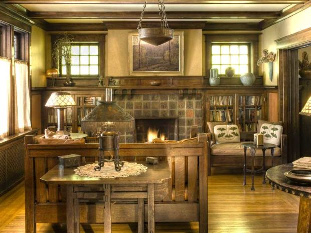 Historic patterns for fireplace surrounds arts crafts for Prairie style fireplace