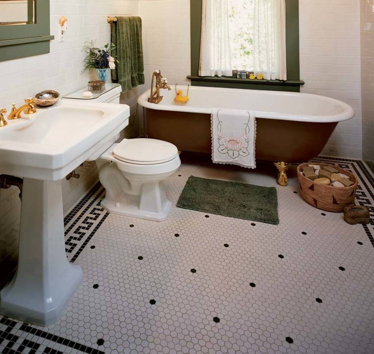The floor is a key to style design for the arts crafts house small hexagon shaped floor tiles are a bathroom standard note the greek key border dailygadgetfo Image collections