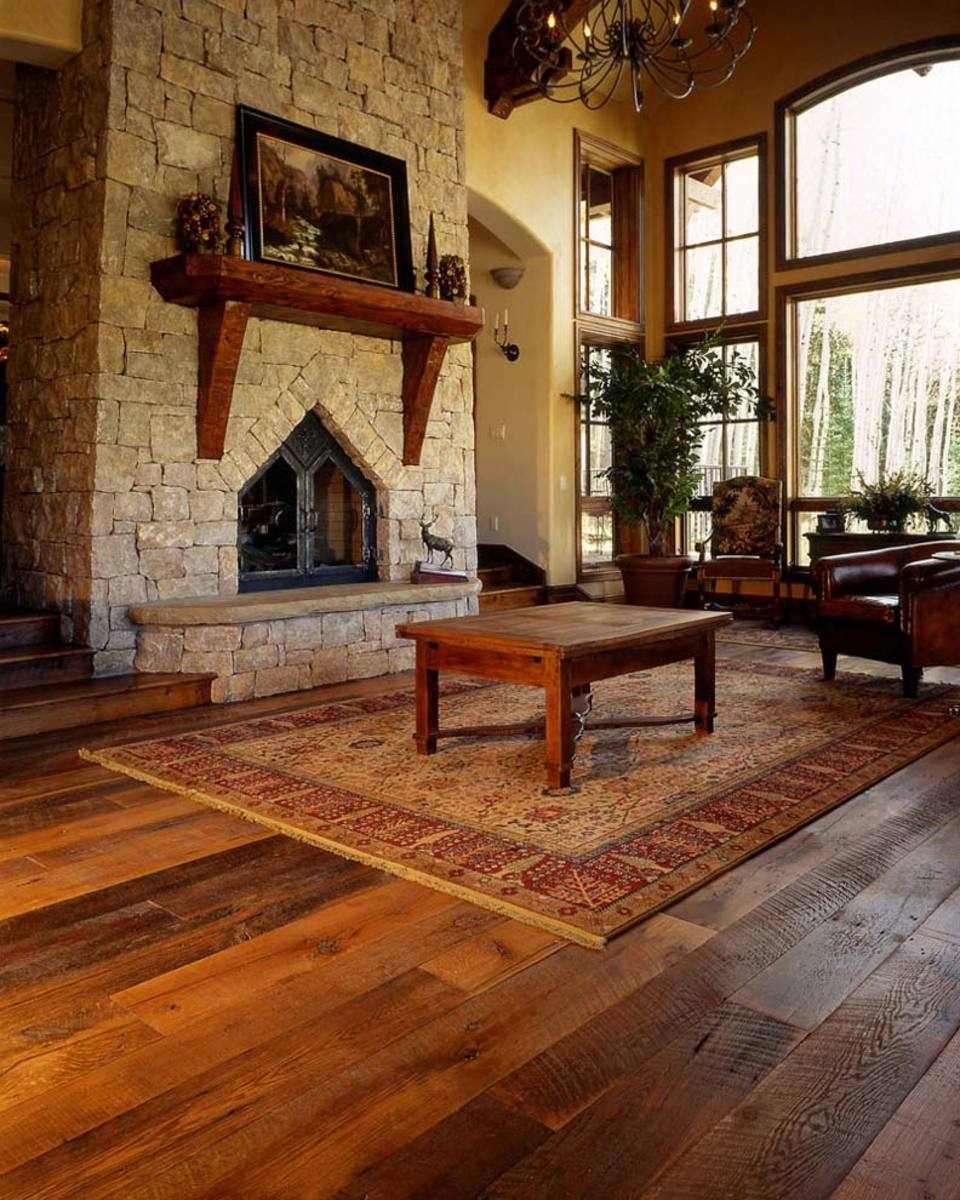 A plank oak floor with a tung-oil finish made by Sutherland Welles.