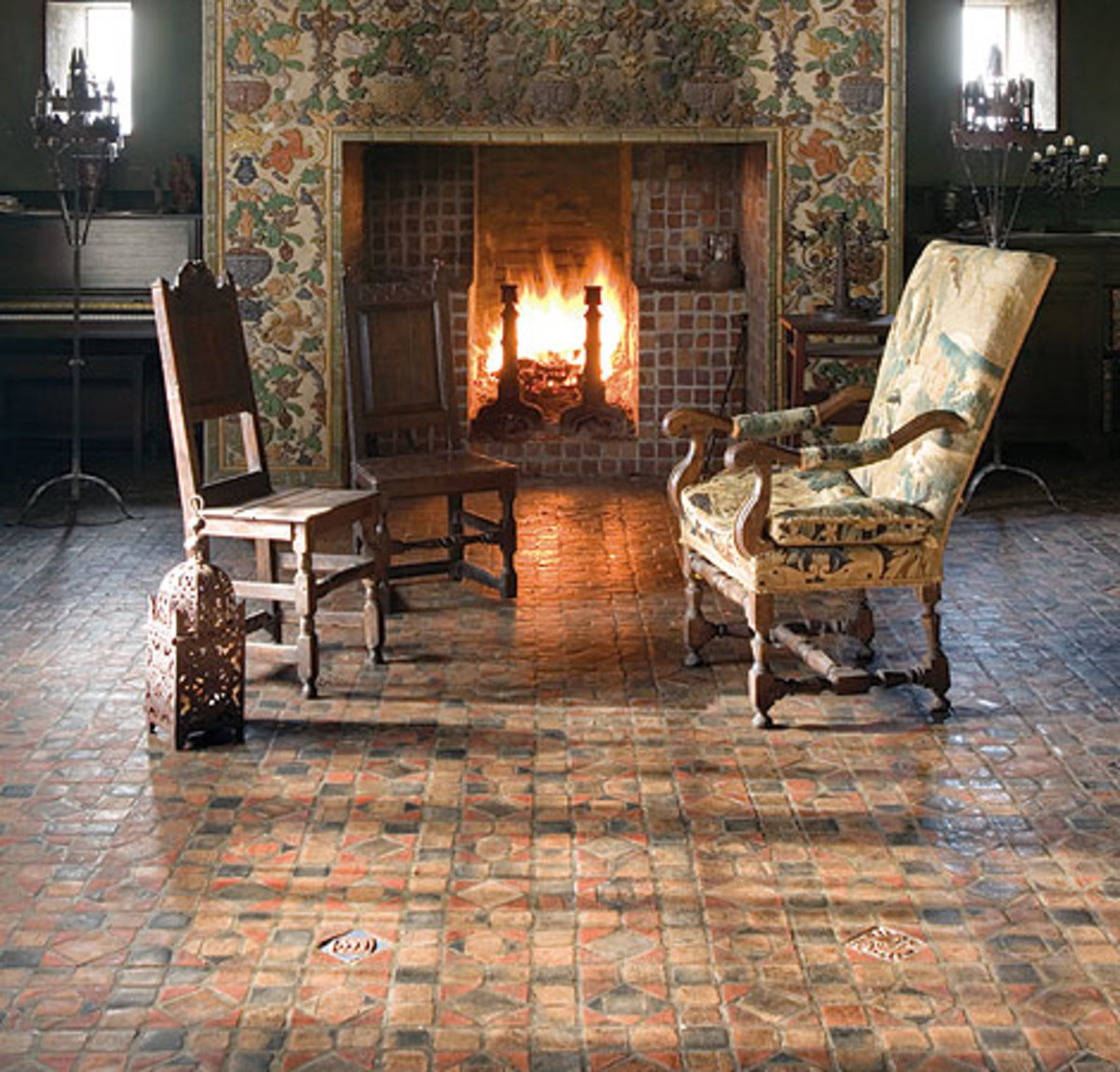 Fireplace with original Moravian tile by Henry Chapman Mercer.