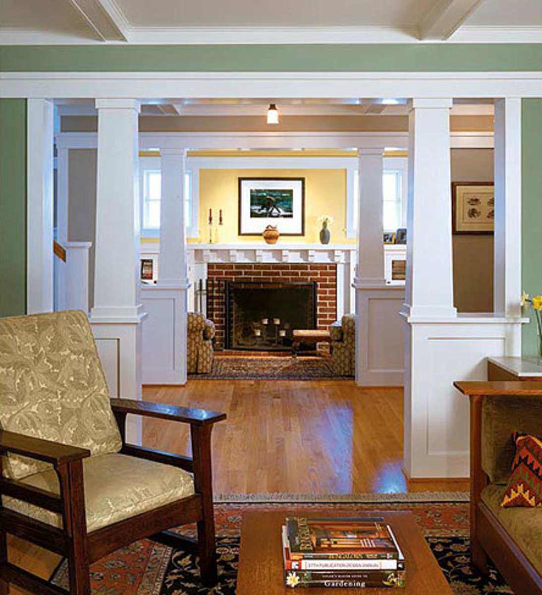 New Colonnades Create A Cozy Inglenook And Entry Foyer In A Postwar Rambler  Recast As A