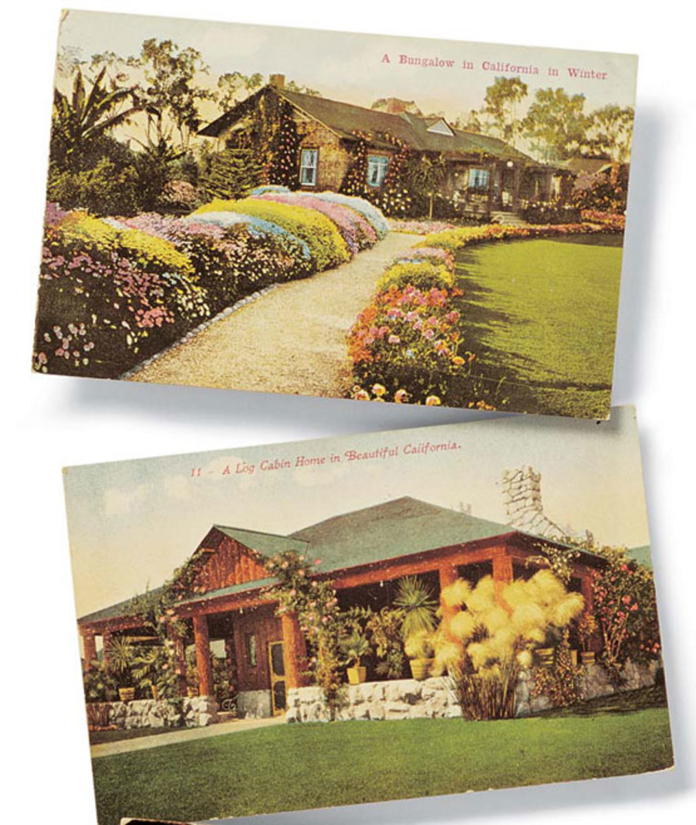 Period postcards celebrating the California Bungalow. (Courtesy of Douglas Keister.)