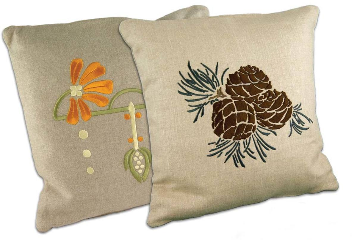 The pinecone is the quintessential Arts & Crafts motif, and flowers are common to all eras. Pillows from Ford Craftsman Studios.