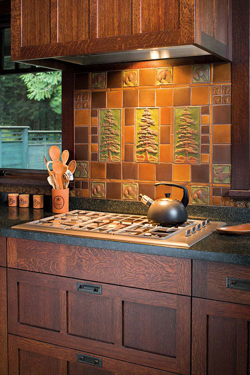 In An Arts Crafts Revival Kitchen Artistic Tile Panel By Handcraft Co