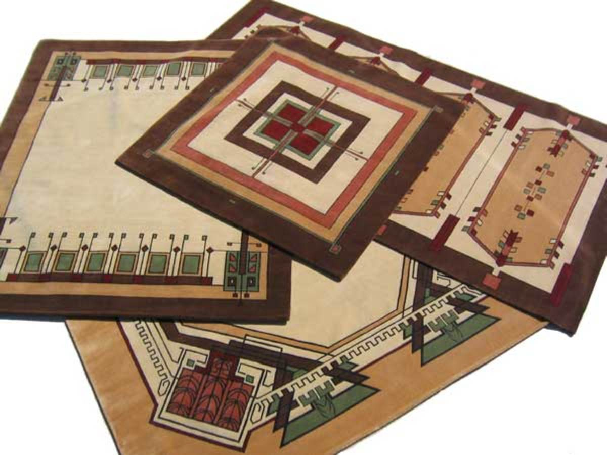 A Group Of Hand Knotted Carpets With Prairie School Designs From Aspen Carpet