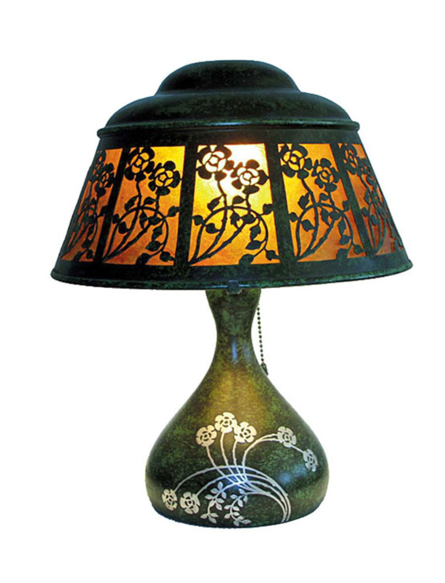 Antique silver-on-bronze Heintz gourd lamp with cut-out panel shade over mica.