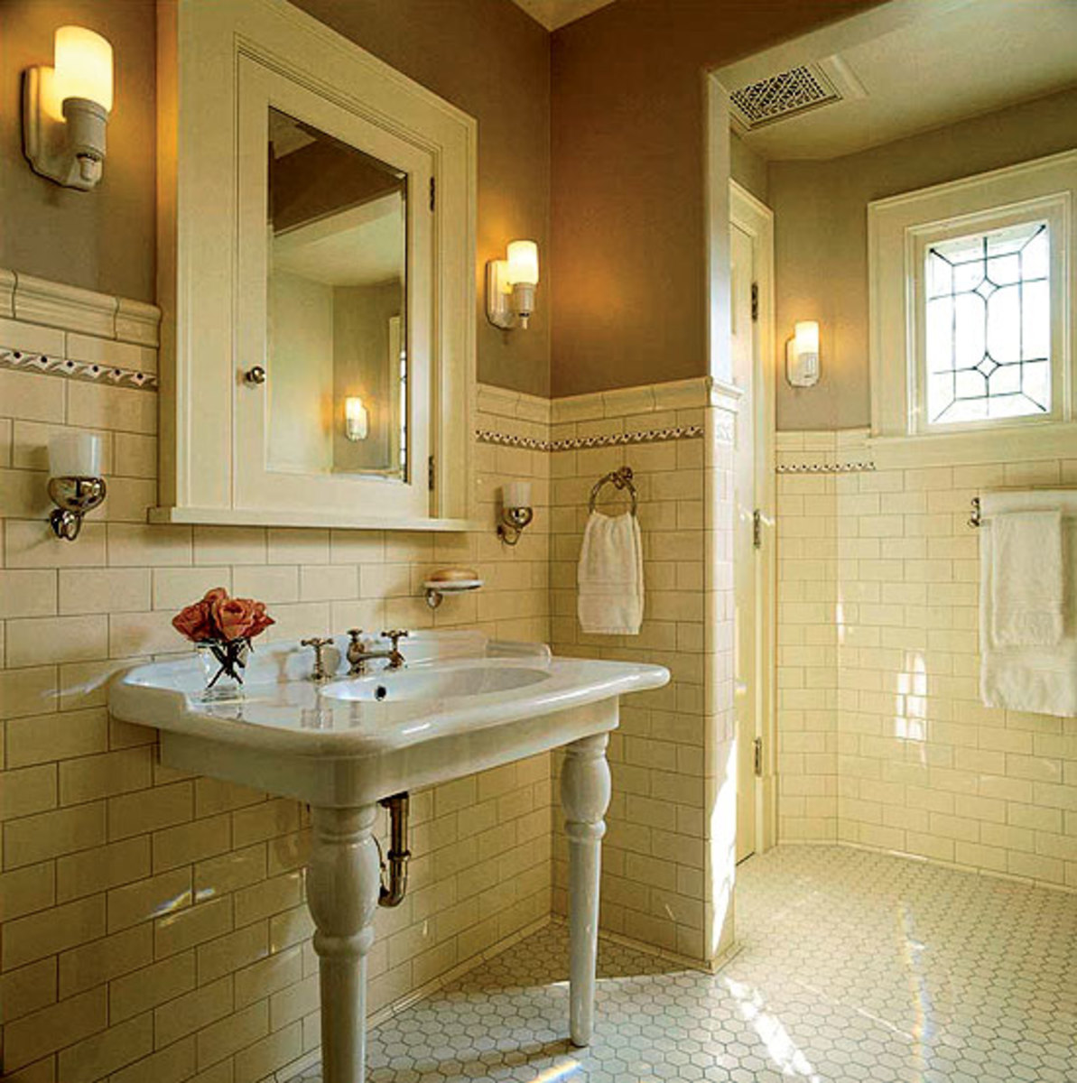 Artful tile for kitchen bath arts crafts homes and - Arts and crafts style bathroom design ...
