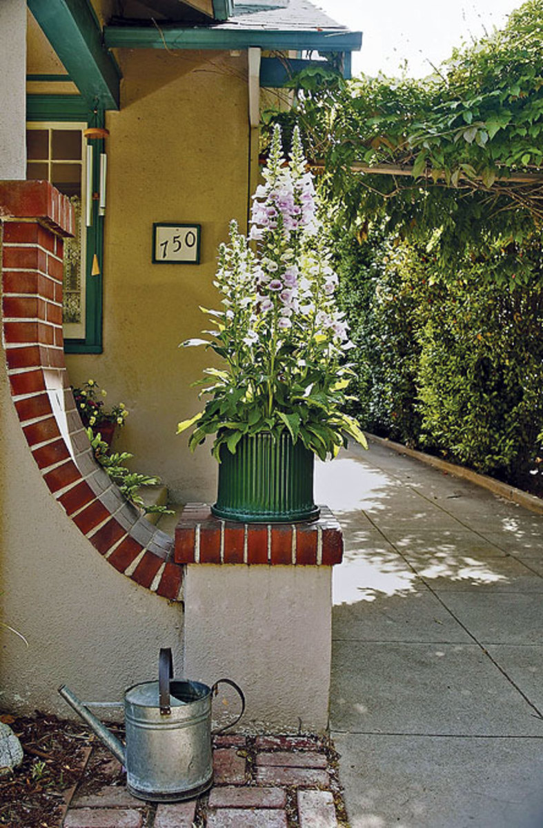 "The stucco bungalow has an asymmetrical pier with a ""swoosh."" Foxgloves also appear in the cottage garden at the rear."