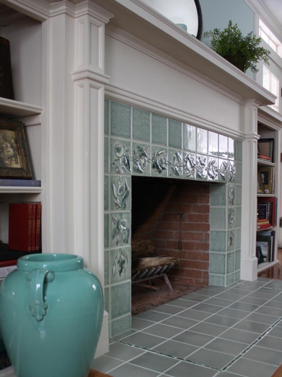 Creating an art tile fireplace arts crafts homes and for Arts and crafts fireplace tile