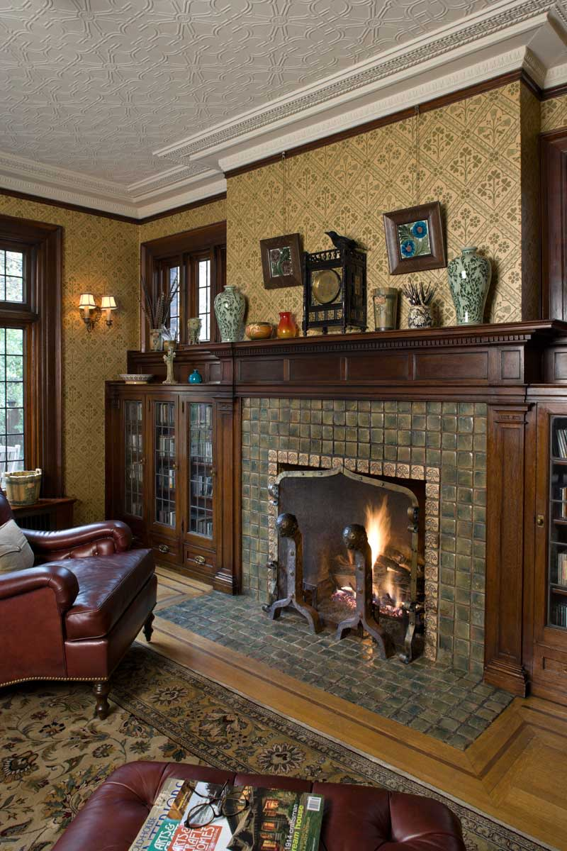 Moravian tiles and Pugin-designed wallpaper