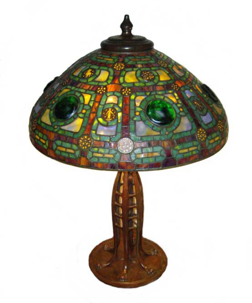 Tiffany-style Zodiac lamp on a Jacob's Ladder bronze base